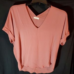 Lush Womens Small. Color Papaya.V-neck Blouse